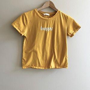 loveJ Happy cropped yellow tee SIZE XS